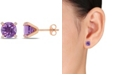 Macy's Amethyst (3 ct.t.w.) with Diamond Accent Stud Earrings in 10k Rose Gold