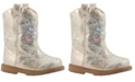 Baby Deer Baby Girl PU Shimmer Western Boot Round Toe with Flower Embroidery