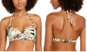 SUNDAZED Paradise Palm Printed Nixie Bra Sized Ruffle Edge Halter Bikini Top, Created for Macy's