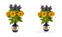 Nearly Natural Sunflower and Lilac Artificial Arrangement in Blue and Gold Vase