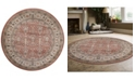 "KM Home CLOSEOUT! 3812/1034/TERRACOTTA Gerola Red 5'3"" x 5'3"" Round Area Rug"