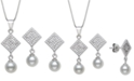 Macy's 2-Pc. Set Cultured Freshwater Pearl (6mm) & Cubic Zirconia Pendant Necklace & Matching Drop Earrings in Sterling Silver