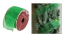 """Northlight Shimmering Green Solid Wired Christmas Craft Ribbon 2.5"""" x 10 Yards"""