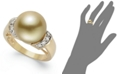Macy's 14k Gold Ring, Golden South Sea Pearl (12mm) and Diamond (1/4 ct. t.w.) Ring