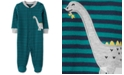 Carter's Baby Boys Cotton Striped Dinosaur Footed Coverall