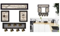 "Trendy Decor 4U Kitchen Collection IV 4-Piece Vignette with 7-Peg Mug Rack by Millwork Engineering, Black Frame, 32"" x 10"""