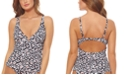 Jessica Simpson Cool Cat Printed V-Wire Tankini Top