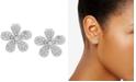 Anne Klein Silver-Tone Pavé Flower Button Earrings