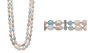 """Macy's Baroque Shaped Multi-Color Morganite 14X10mm Double Row 18"""" and 19"""" Necklace with Sterling Silver Clasp"""