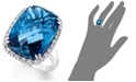 Macy's 14k White Gold Ring, London Blue Topaz (15 ct. t.w.) and Diamond (1/5 ct. t.w.) Rectangle Ring