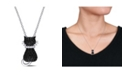 Macy's Black Spinel (2 1/3 ct. t.w.) and Created White Sapphire Accent (0.06 ct. t.w.) Kitty Cat Necklace in Sterling Silver