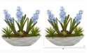 Nearly Natural 15in. Hyacinth and Succulent Artificial Plant in Decorative Planter