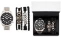 American Exchange Men's Silver-Tone Bracelet Watch 46mm Gift Set