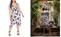 Michael Kors Plus Size Floral-Print Handkerchief-Hem Dress