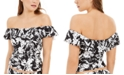 Tommy Hilfiger Off-The-Shoulder Printed Tankini Top