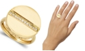 Macy's 1/8 Ctw Diamond Circle Center Line Ring  in 18k Yellow Gold Over Sterling Silver