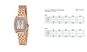 Bob Mackie Women's Pink Alloy Bracelet Panther Link Square Stone Bezel Watch, 23mm