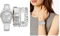 Jessica Carlyle Women's Silver-Tone Strap Watch 34mm Gift Set