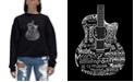 LA Pop Art Women's Word Art Crewneck Languages Guitar Sweatshirt