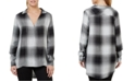 Numero Plaid Crossover V-Neck Top