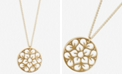 "Lucky Brand Gold-Tone Pavé Openwork Flower Coin Long Pendant Necklace, 31"" + 2"" extender"
