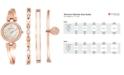 Anne Klein Women's Crystal Accent Rose Gold-Tone Stainless Steel Bangle Bracelet Watch & Bracelets Set 26mm