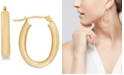 Macy's Polished Tube Oval Hoop Earrings in 10k Gold, 4/5 inch