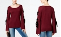 INC International Concepts I.N.C. Petite Velvet-Detail Lace-Up Sweater, Created for Macy's