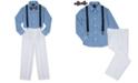 Nautica 4-Pc. Ocean-Print Shirt, Pants, Suspenders & Bowtie Set, Little Boys