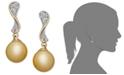 Macy's 14k Gold Earrings, Cultured Golden South Sea Pearl (10mm) and Diamond (1/4 ct. t.w.) Wave Earrings