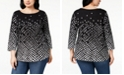 Charter Club Plus Size Cotton Print T-Shirt, Created for Macy's