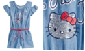 Hello Kitty Cold Shoulder Chambray Romper, Toddler Girls