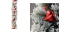 National Tree Company 9' Snowy Bristle Pine Garland with Red & Silver Ornaments & 70 Clear Lights