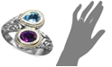 EFFY Collection Balissima by EFFY® Blue Topaz (3/4 ct. t.w.) and Amethyst (3/4 ct. t.w.) Bypass Ring in Sterling Silver and 18k Gold