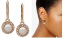 Anne Klein Gold-Tone Pavé & Imitation Pearl Halo Drop Earrings
