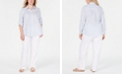 Charter Club Plus Size Linen Striped Shirt & Straight-Leg Pants, Created for Macy's