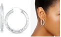 Signature Gold Diamond Accent Textured Hoop Earrings in 14k White Gold Over Resin, Created for Macy's