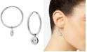Argento Vivo Evil Eye Charm Hoop Earrings in Sterling Silver