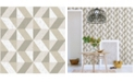 "A-Street Prints 20.5"" x 396"" Cerium Neutral Concrete Geometric Wallpaper"