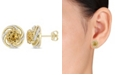 Macy's Citrine (3-5/8 ct. t.w.) and White Topaz (1/4 ct. t.w.) Swirl Stud Earrings in 18k Yellow Gold Over Sterling Silver
