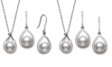 Belle de Mer Cultured Freshwater Pearl (8-10 mm) and Diamond Accent Earring and Pendant Set in Sterling Silver