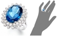 Macy's 14k White Gold Ring, London Blue Topaz (12 ct. t.w.) and Diamond (1-5/8 ct. t.w.) Oval Ring