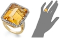 Macy's 14k Gold Ring, Citrine (22 ct. t.w.) and Diamond (1/2 ct. t.w.) Rectangle Ring