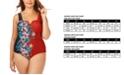 Raisins Curve Trendy Plus Size Juniors' Printed Rosalie V-Wire One-Piece Swimsuit