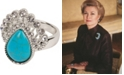Grace Kelly Collection Rhodium Plated Drop Ring