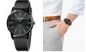 Calvin Klein Men's City Black Leather Strap Watch 43mm