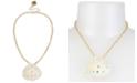 "Betsey Johnson Gold-Tone Pavé & Imitation Pearl Seashell Pendant Necklace, 16"" + 3"" extender"