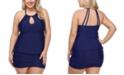 Raisins Curve Trendy Plus Size Juniors' Solid Rosalie Underwire Tankini Top & Solid Costa Swim Skirt