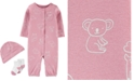 Carter's Baby Girls 3-Pc. Animal-Print Cotton Coverall, Hat & Socks Set