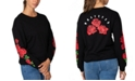 Rebellious One Juniors' Cotton Roses Graphic T-Shirt with Back Detail